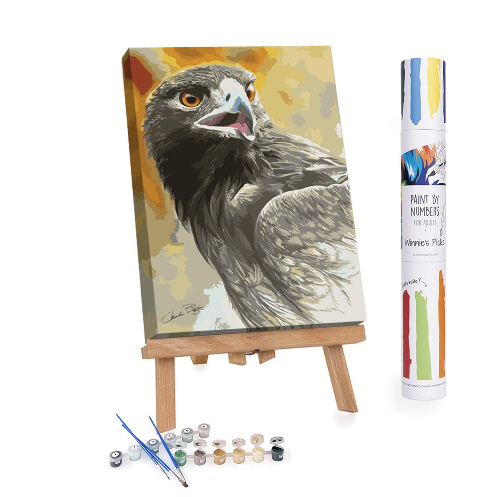 Portrait of an eagle on an easel