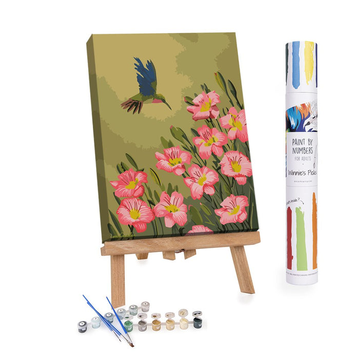 Pink flowers and hummingbird on green background painting