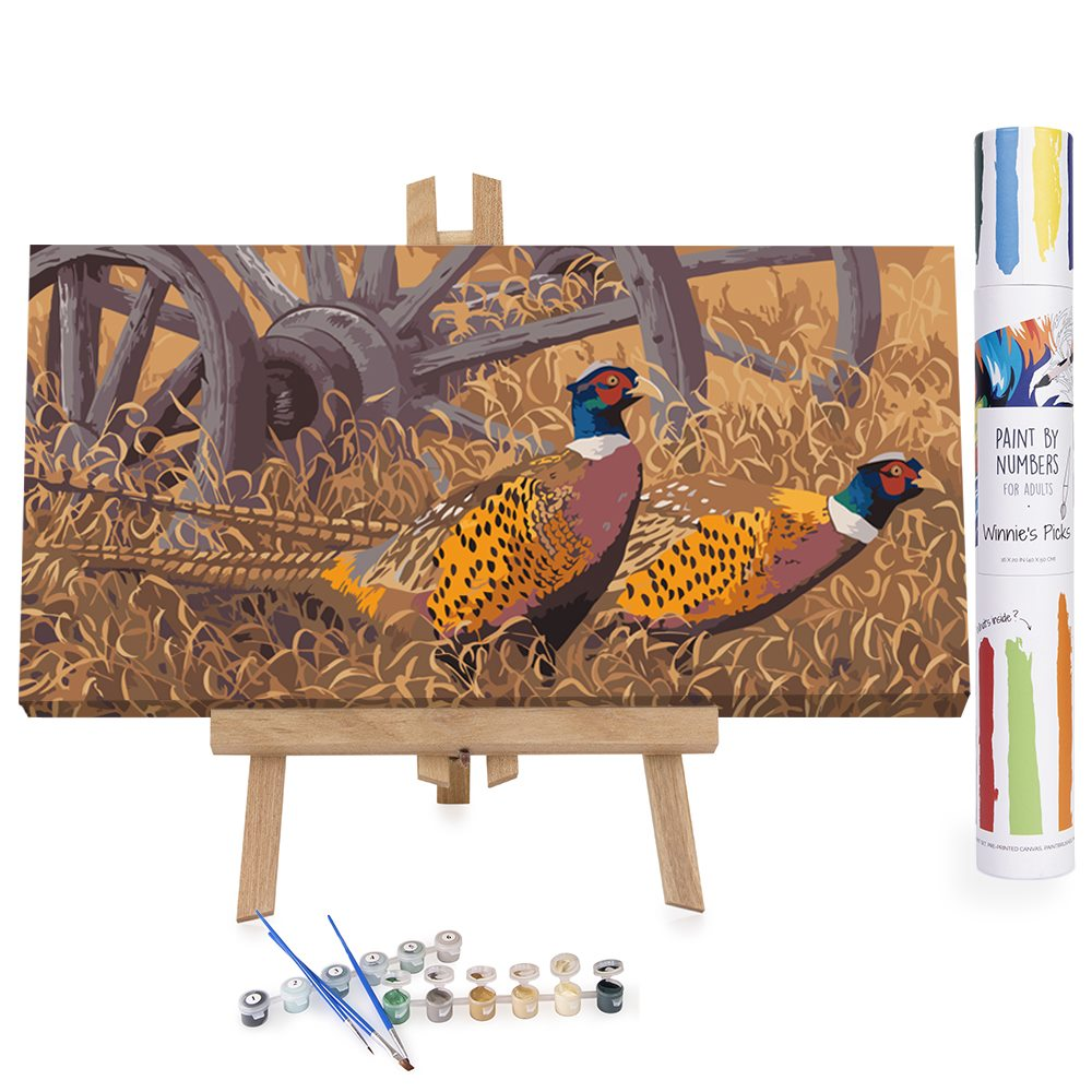 Pheasants in autumn field paint by numbers