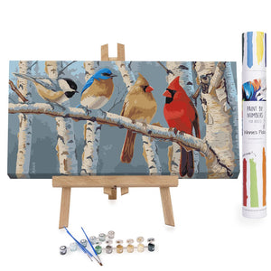 Colorful birds on a branch paint by numbers