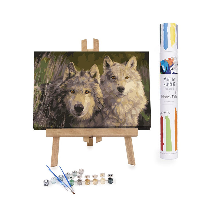 Pair of wolves painting by numbers