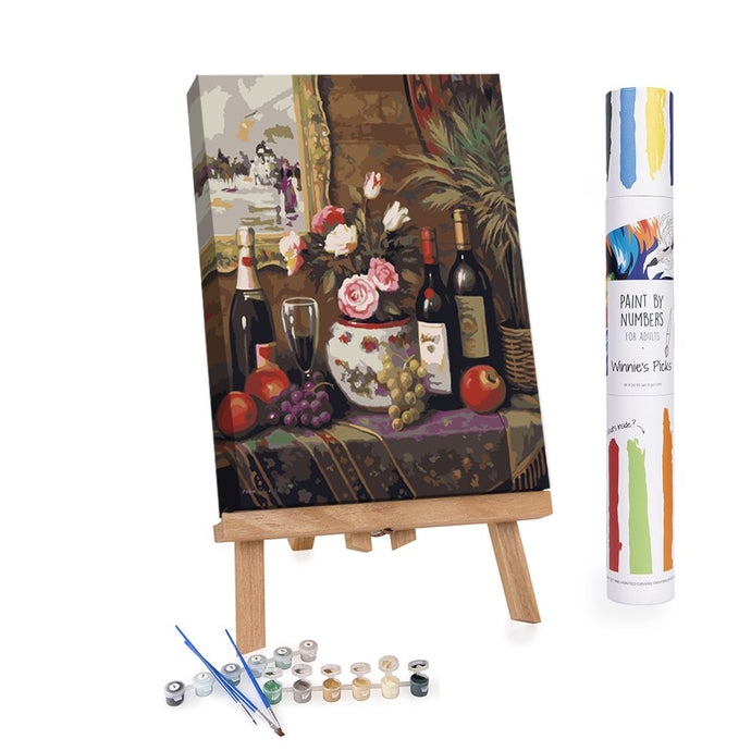 Wine and flowers still-life paint by numbers