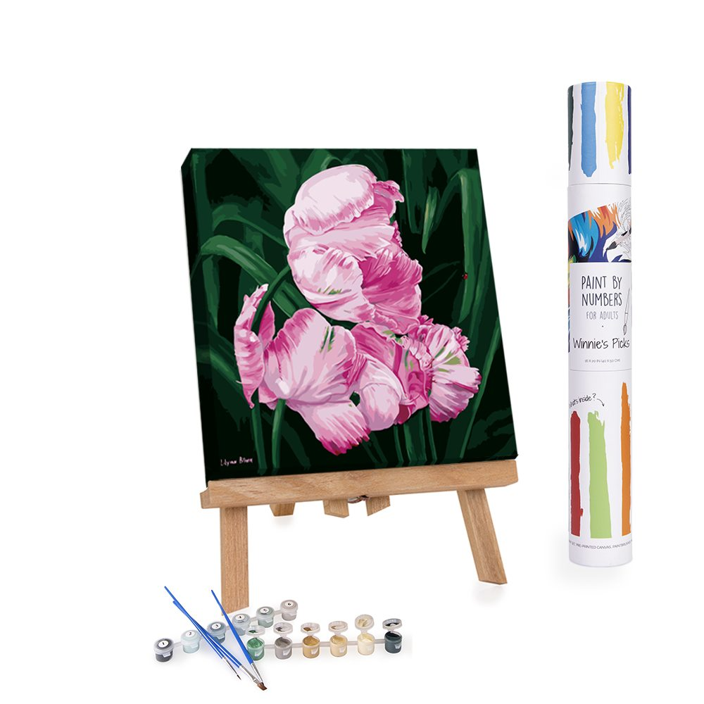 Pink flowers painting by numbers