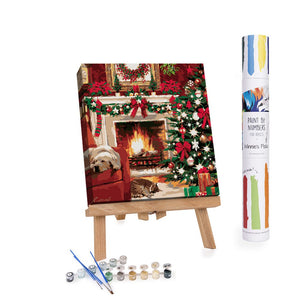 Christmas fireplace with dog and cat paint by numbers