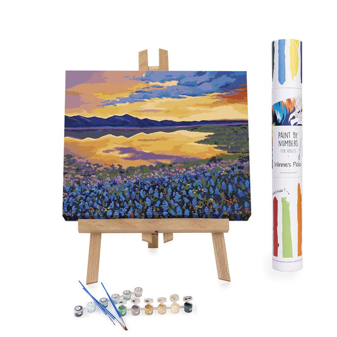 Paint by numbers blue flowers field at sunset