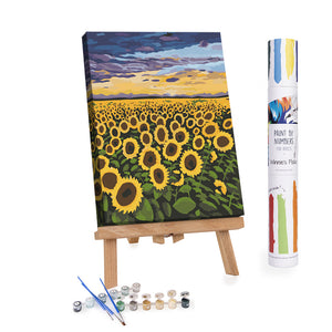Sunflowers field at sunset paint by numbers