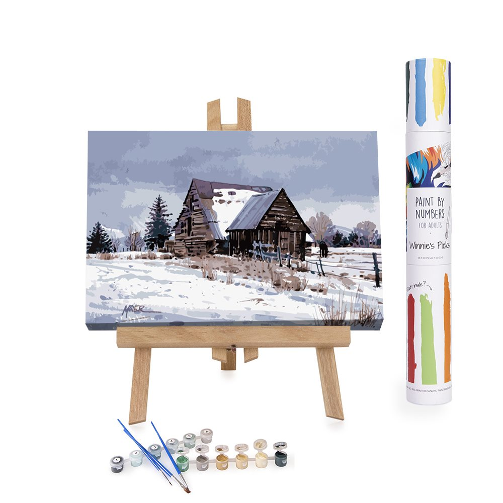 Painting by Numbers old snowy barn