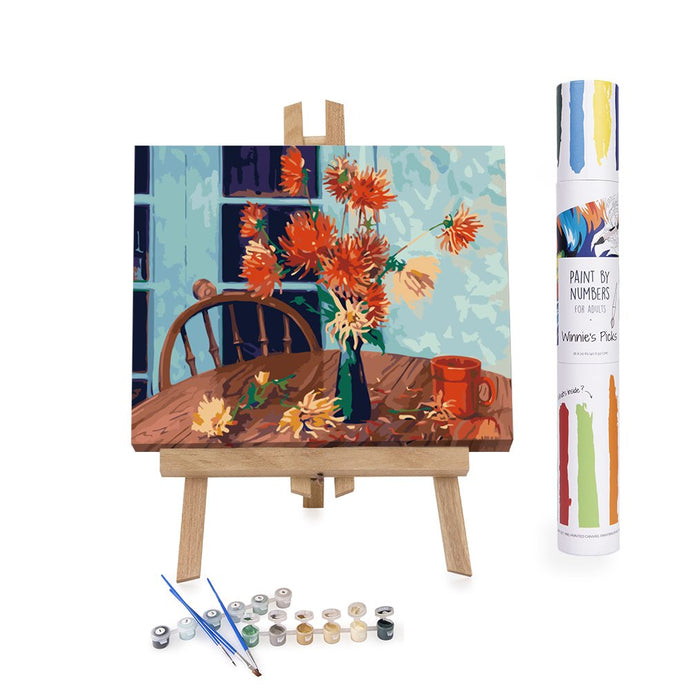 Red dahlias blue background paint by numbers