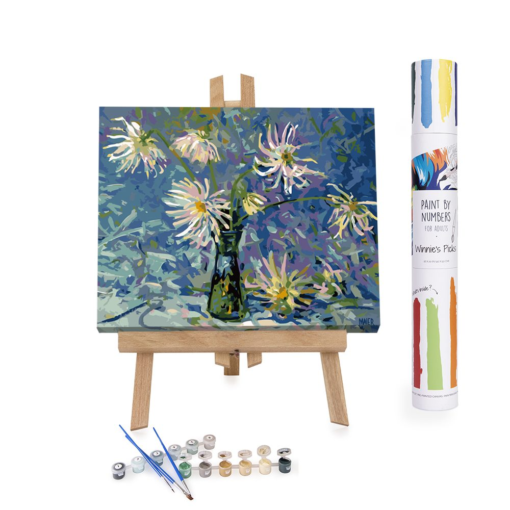 White dahlias on blue shades paint by numbers