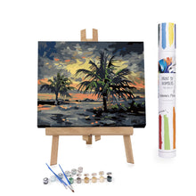 Sunset storm on palm-trees beach paint by numbers