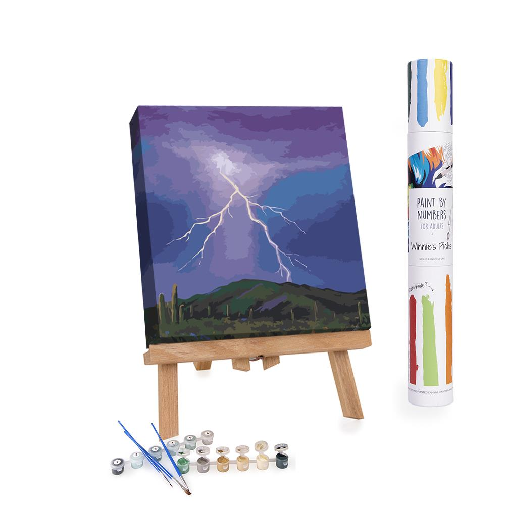 Paint By Numbers Adults Thunderstorm Rain in the desert