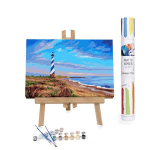 Paint By Numbers Adults Lighthouse sunset beach blue sky