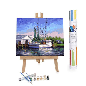 Paint By Numbers Adults Shrimper Harbor Dock Pier