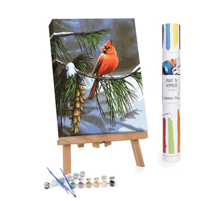 Paint By Numbers Adults Cardinal on a tree in winter