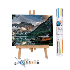 Paint by numbers of a A Norwegian fjord cabin