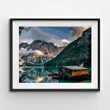 Painting of a lodge in a fjord in the mountains