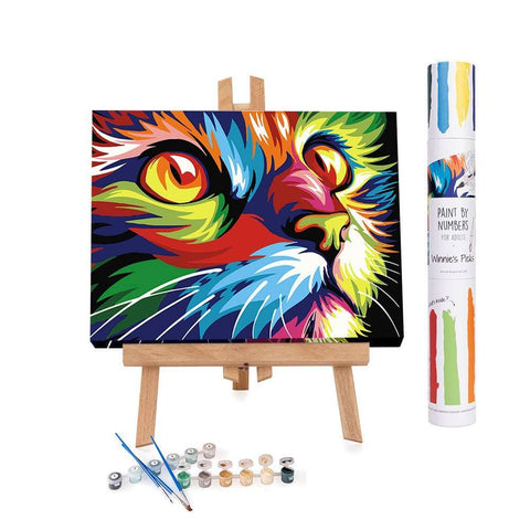 Abstract cat paint by numbers