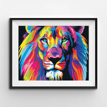 Paint by numbers of an abstract colorful lion