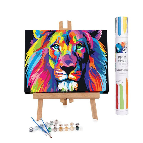 Colored painting of a lion