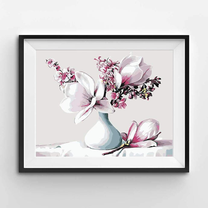 Flowers paint by numbers of pink magnolias