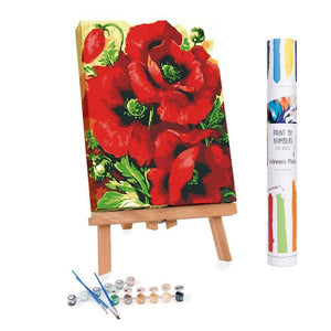 Paint by numbers of red poppies