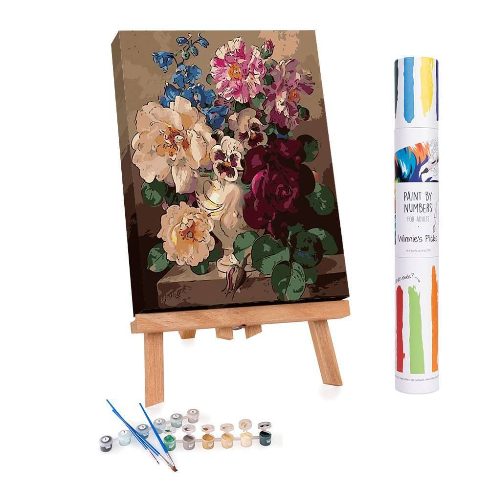 Adults paint by numbers of blooming flowers and still life