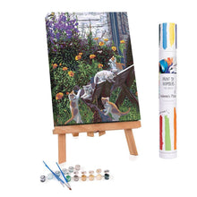 Paint by numbers of kitten playing on a bench in a flowered garden