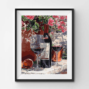 Painting of a wine and fruits still life scenery