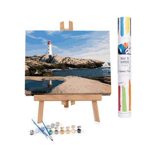 Paint by numbers of a lighthouse on front of the sea