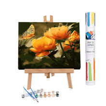 Paint by numbers of a peach butterfly over orange flowers