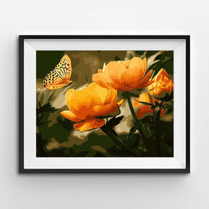 Painting of an orange butterfly on flowers