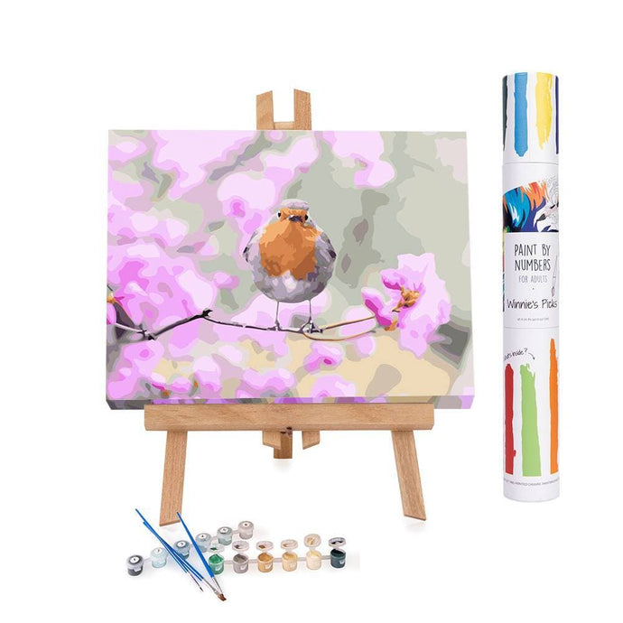 Paint by numbers of an orange robin on a branch