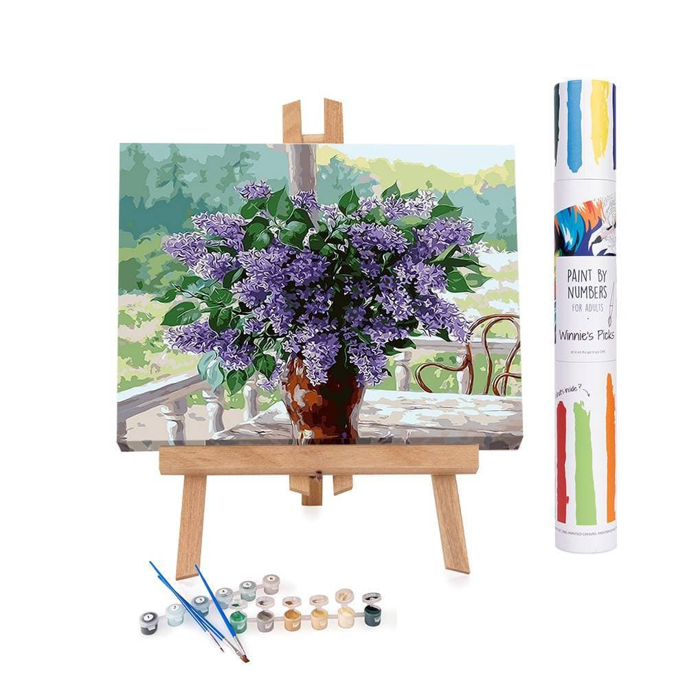 Paint by numbers of a spring fresh flower bouquet
