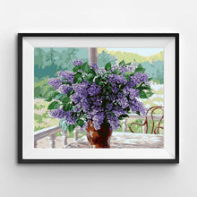 painting of a violet lilac bouquet of flowers