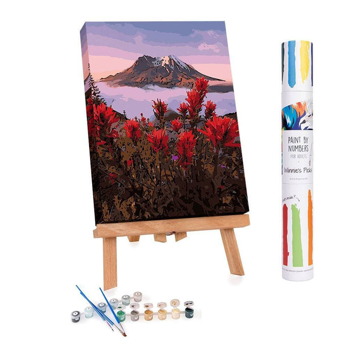 Paint by numbers of flowers and the mount fuji at dawn