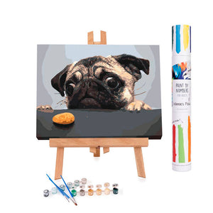 Animal paint by numbers of a hungry pug dog