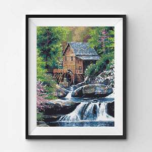 Painting of a wooden mill in the nature