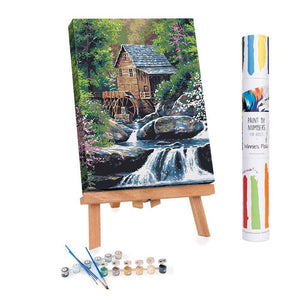 Paint by numbers of a mill on a river