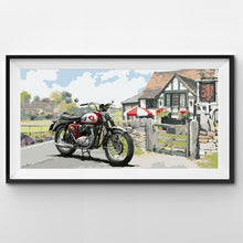 Moto in front of house painting by numbers