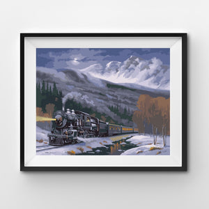 Snow mountains with train at night painting by numbers