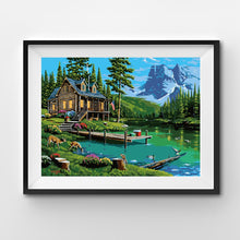 Log cabin at the forest lake painting by numbers