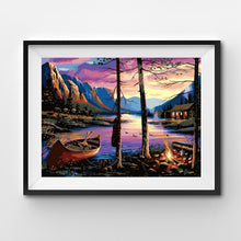 Canoe campfire by the mountain of the lake painting by numbers