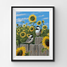 birds in front of sunflowers paint by numbers