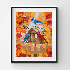 Birds with autumnal background painting
