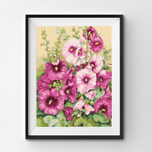 Pink and green flowers painting by numbers