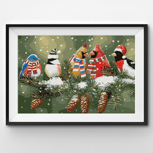 Festive and Christmassy Birds on a Snowy Branch