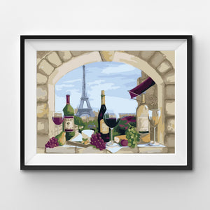 Wine and grapes view on the Eiffel tower painting by numbers