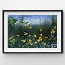 Monarch butterfly flight over flowers painting by numbers