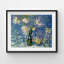 Dahlias with blue and violet tones painting by numbers