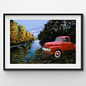 Painting By Number - Red Truck in the wild with a man fishing